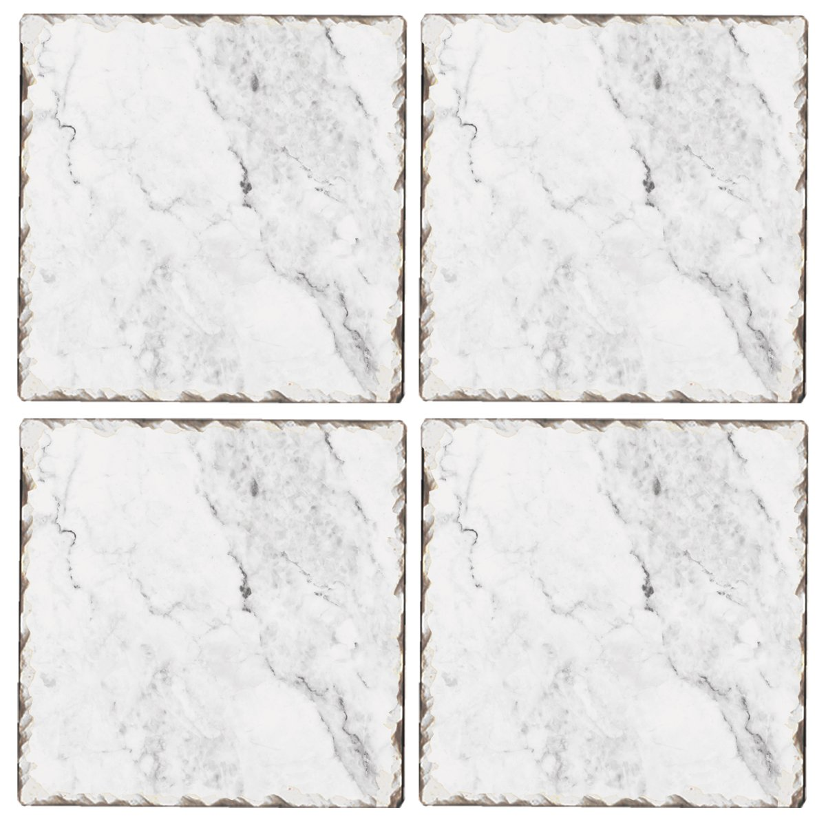 Cala Home Set of 4 Tumbled Tile Coasters, White Marble Pattern
