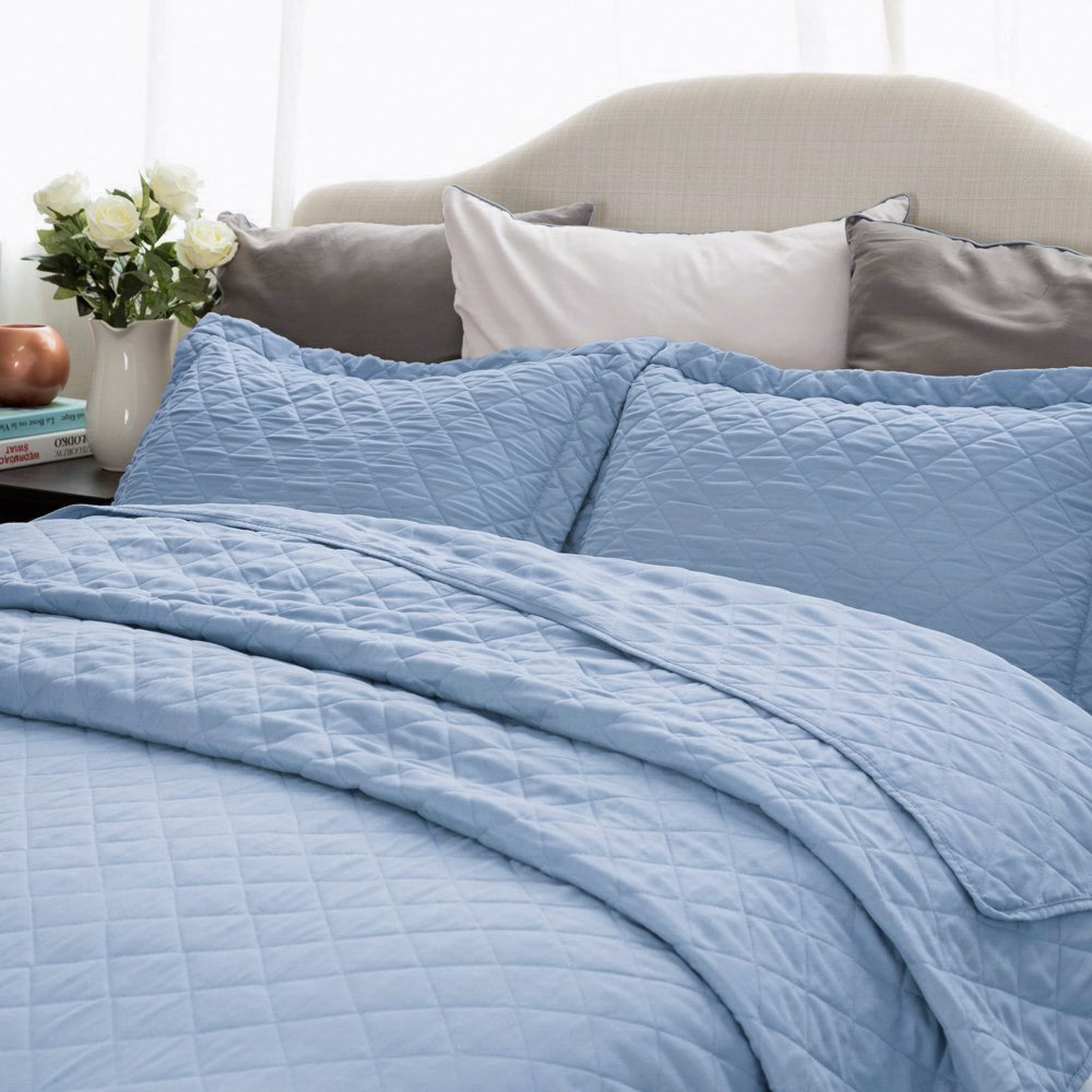 Quilt Set Solid Grayish Blue King Size(106\