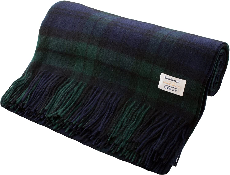 Edimburgo 100% bioética tartán escocés alfombra/manta, BLACK WATCH, talla única