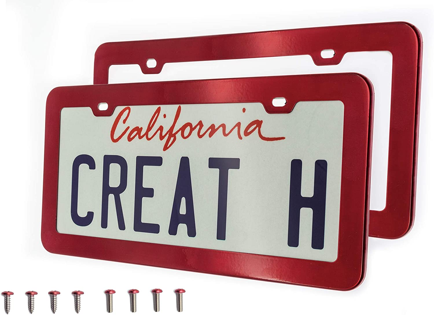 Poinsettia Red Deselen Red License Plate Frame Pair Stainless Steel with 2 Holes Screw Cap