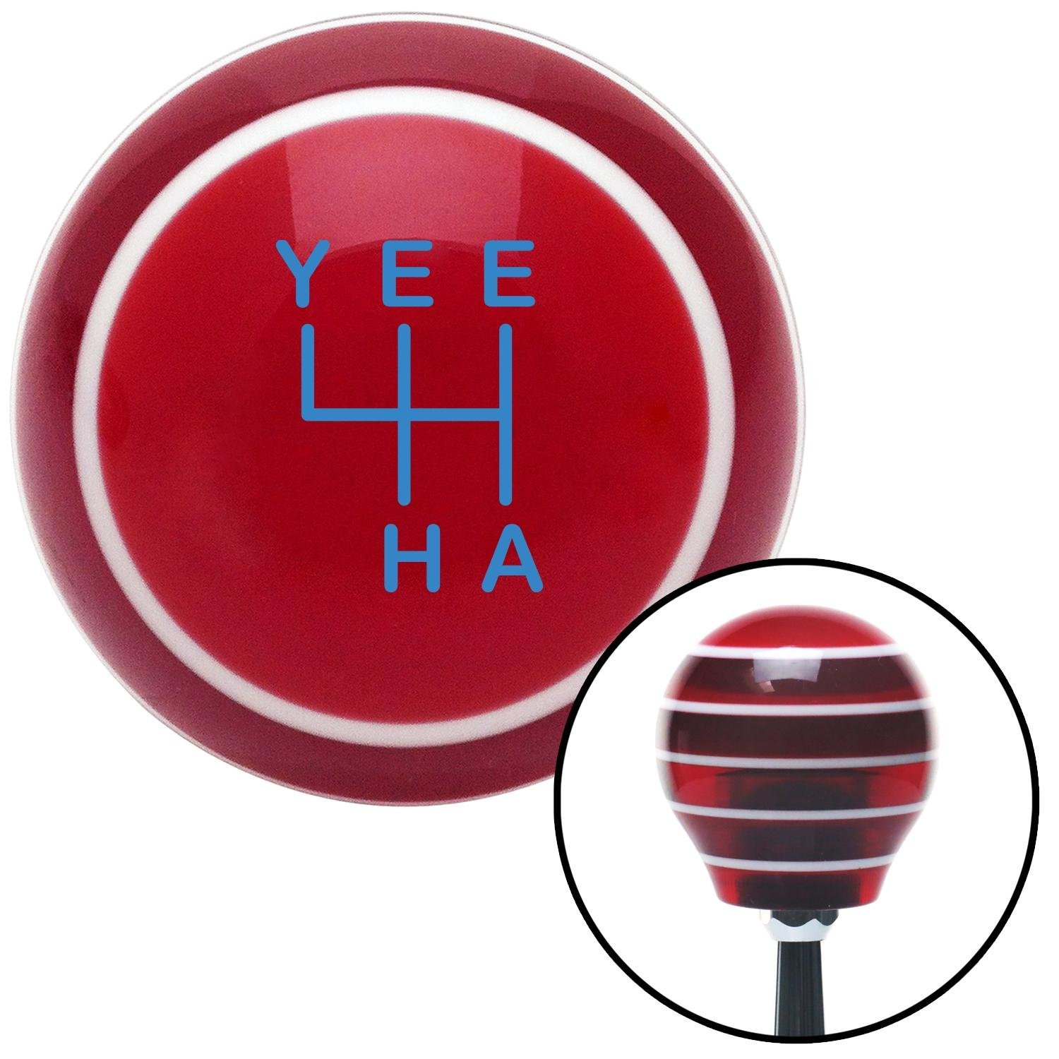Blue YeeHa 4 Speed Red Stripe with M16 x 1.5 Insert American Shifter 301813 Shift Knob