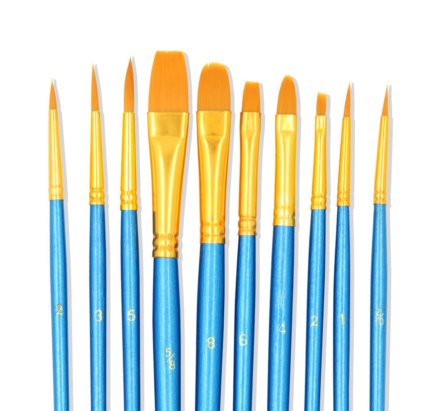 StarVast Painting Brushes, 10pcs Professional Acrylic Paint Brushes Set for Watercolor / Oil / Acrylic / Crafts / Rock / Face Painting and Gouache - Blue