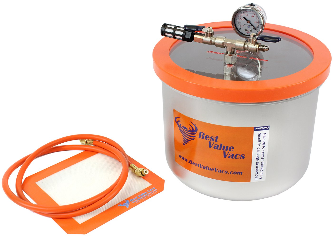 3 Gallon Wide Stainless Steel Vacuum Chamber (Assembled in USA, Contains Domestic Components