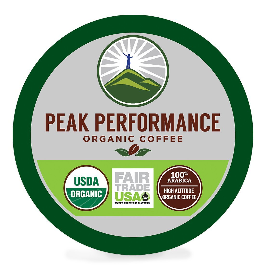 Peak Performance High Altitude Organic Coffee Pods. High Performance Body & Mind Coffee For High Performance Individuals. Fair Trade USDA Organic Beans. Medium Roast Single Serve Keurig 24 KCups