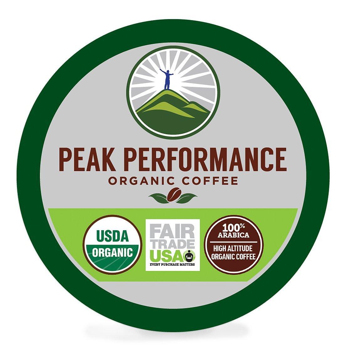 Peak Performance High Altitude Organic Coffee. High Performance Body & Mind Coffee For High Performance Individuals. Fair Trade Beans Full Of Antioxidants. Medium Roast Single Serve KCups 96 Count by Peak Performance Coffee