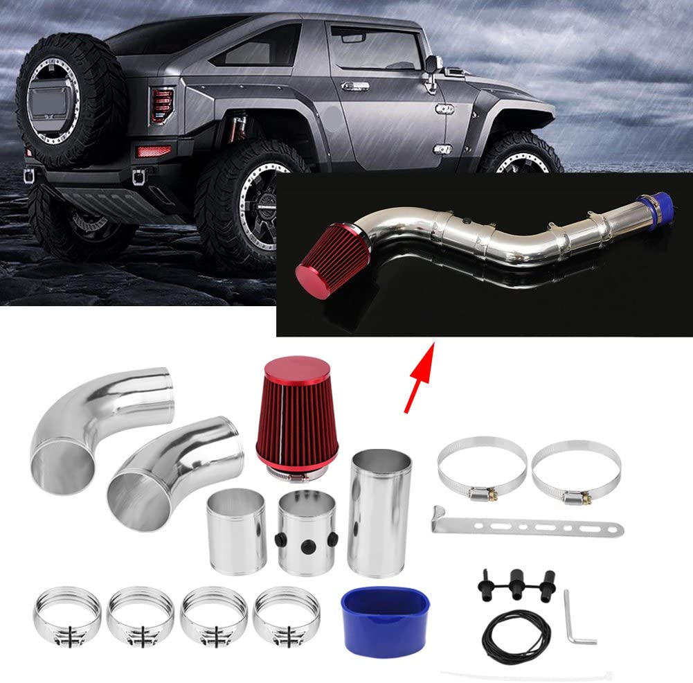76 mm//3 pulgadas de aluminio Universal Car Sistema de filtro de admisi/ón de inyecci/ón de aire fr/ío Kit de tubo de manguera Manguera de admisi/ón de aire fr/ío