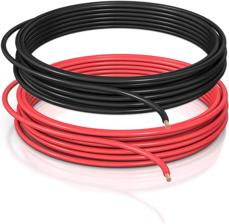 DCSk - Cable para vehículos Tipo FLRY B asimétrico 1.5mm² - Cable eléctrico para Coche, Longitud de Bobina 5m, Rojo y 5m Negro