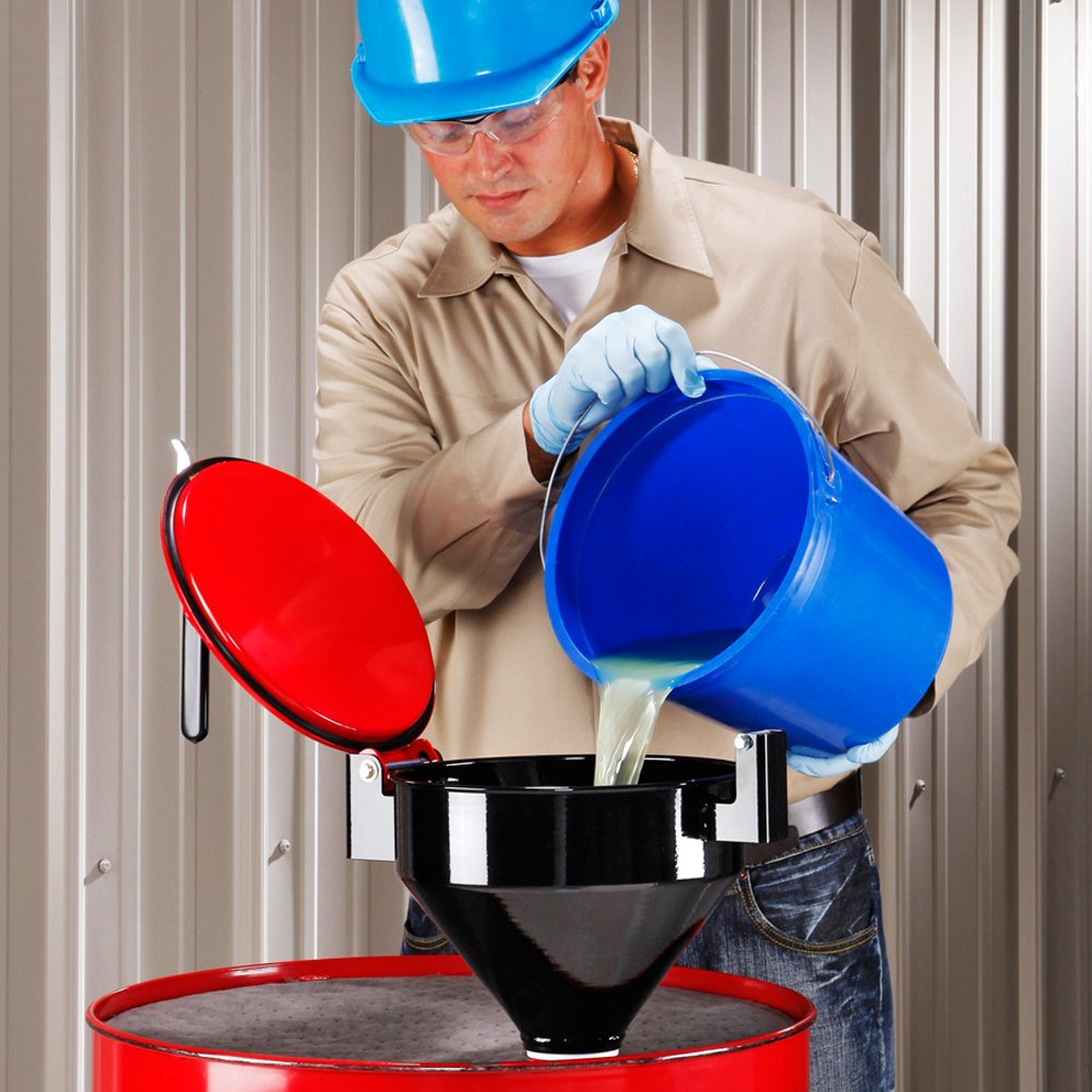 DRM1125-YW-NPT New Pig Burpless Steel Drum Funnel for 5 to 55-Gallon Steel or Poly Drums with 2 NPT 15 x 11 x 13 Yellow One Hand Sealable