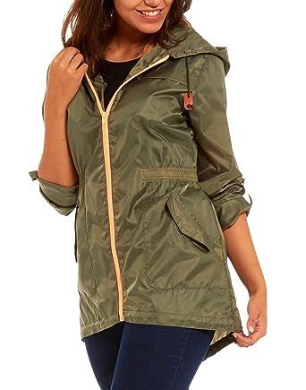 Women's Raincoat lightweight rain mac festival parka jacket Kagool Khaki  Green Ladies Size 12-14