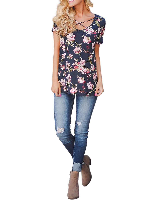 Chemise Croisee Femme Boheme Hippie Chic Haut Imprimé Fleuri Mode T-Shirt Manche Courte Fille Ado Tunique Ete Ethnique Blouse Col V Sweatshirt Pull-Over Top de Sport Blu Blanc Rosa Noir S-XXL