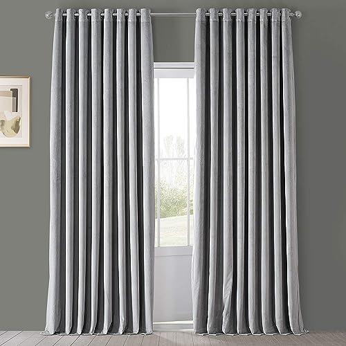 HPD Half Price Drapes VPCH-VET1213-96-GR Signature Extra Wide Grommet Blackout Velvet Curtain 1 Panel