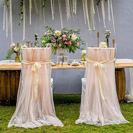 Super Amazon Com Bluefringe Tutu Chair Skirts Bridal Chair Covers Squirreltailoven Fun Painted Chair Ideas Images Squirreltailovenorg