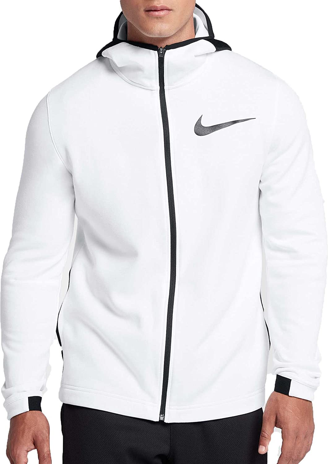 58b668eb391 Amazon.com  Nike Men s Dry Showtime Full Zip Basketball Hoodie (White White