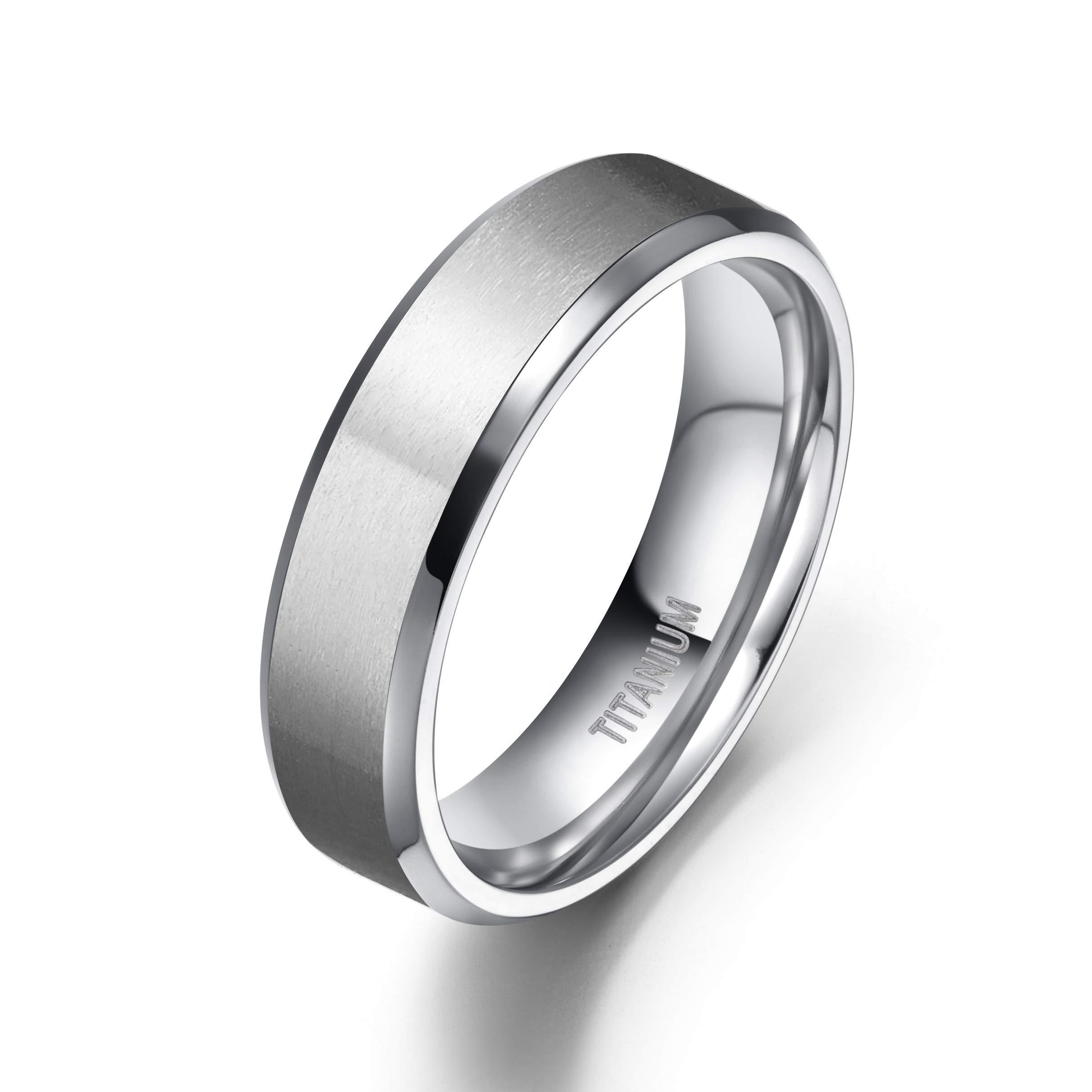 TIGRADE 6mm Unisex Titanium Ring Flat Matte Brushed Beveled Edge Wedding Band Comfort Fit Size 4-13 (Titanium, 11.5)