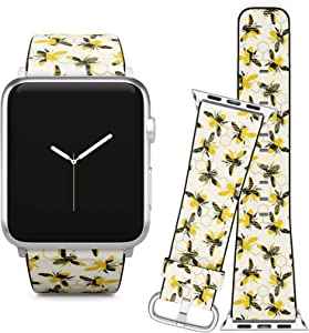 Compatible with Apple Watch iWatch (38/40 mm) Series 5, 4, 3, 2, 1 // Soft Leather Replacement Bracelet Strap Wristband + Adapters // Geometric Bee Trendy