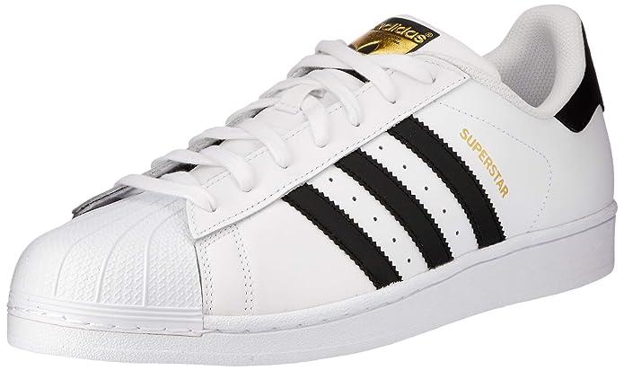 adidas Unisex-Erwachsene Superstar Low-Top Weiß mit schwarzen Streifen