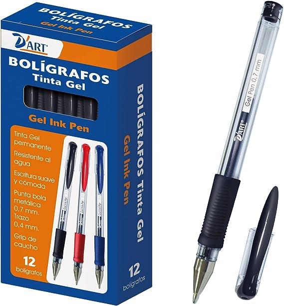 DArt 79421 - Caja de bolígrafos, tinta gel, 12 unidades, 0.7 mm, color negro: Amazon.es: Oficina y papelería