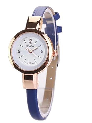 Relojes Mujer,Longra Elegante Reloj de Pulsera Reloj Redondo Cuero Imitación (21CM, Azul