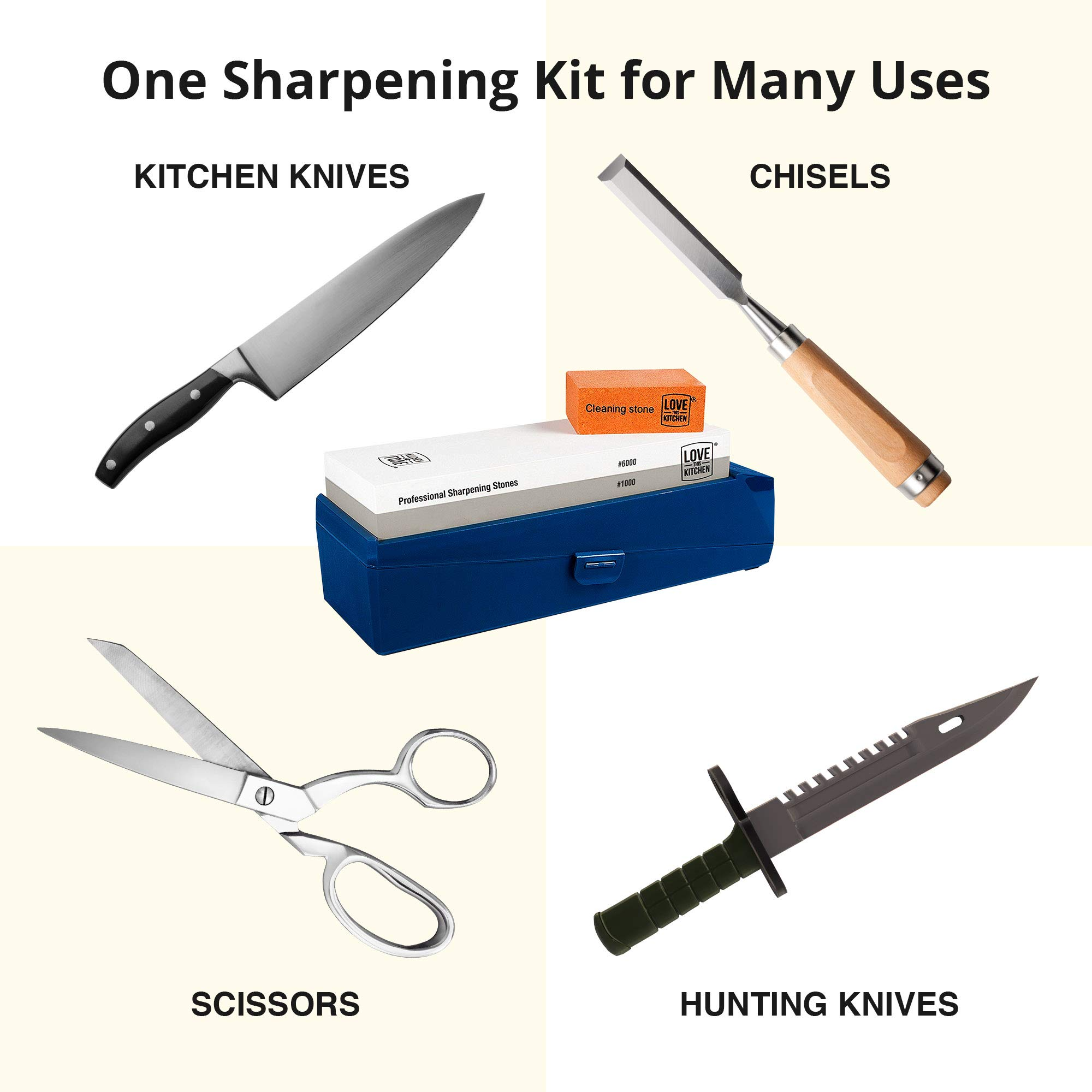 """Knife Sharpening Stone Grits 1000/6000 - Larger 8.25""""x 2.75"""" Premium Dual Whetstone Knife Sharpeners - Best for Chef & Kitchen Knives. Protective Case with Non-Slip Base & Cleaning/Lapping Stone Kit by Love This Kitchen (Image #8)"""