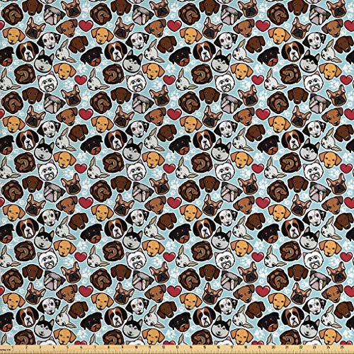 Ambesonne Dog Lover Fabric by The Yard, Canine Breeds Bulldog Chihuahua Siberians and Retriever Love Heart Paw Prints, Decorative Fabric for Upholstery and Home Accents, 1 Yard, Brown Blue
