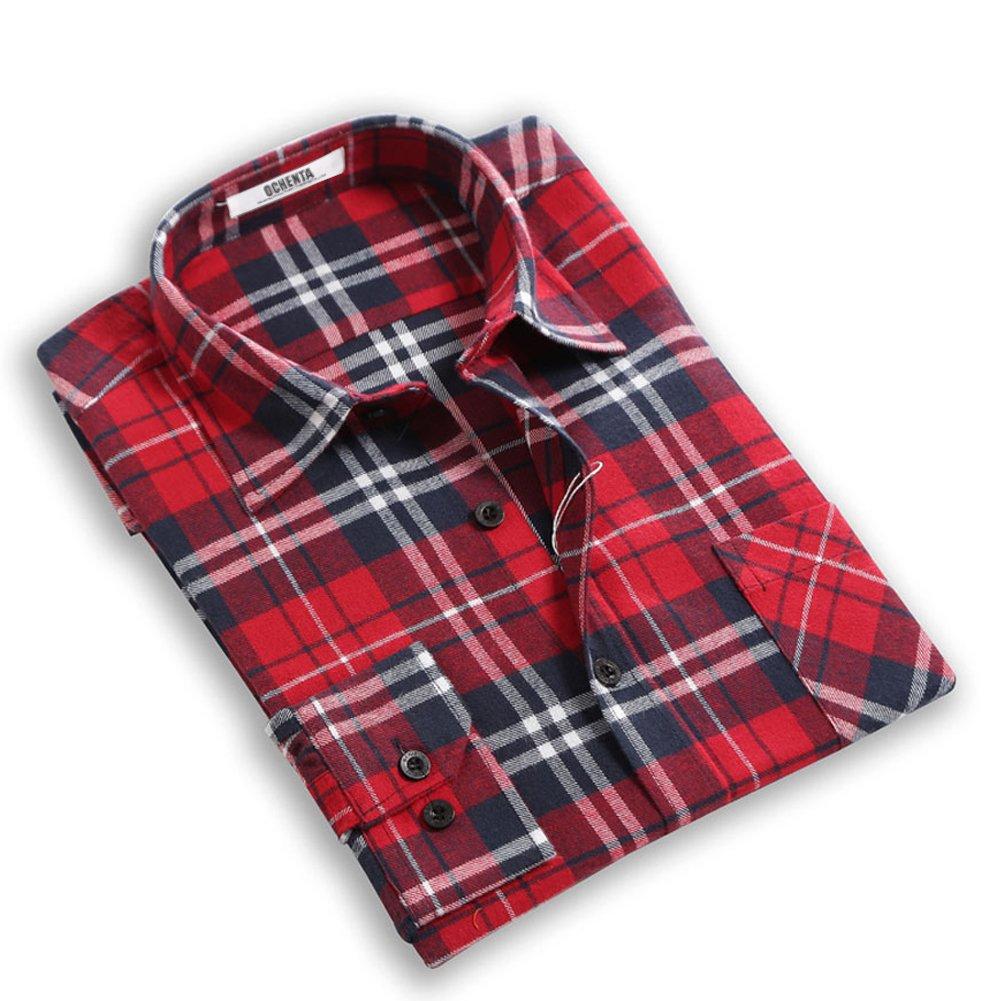 OCHENTA Mens Button Down Checkered Flannel Tops