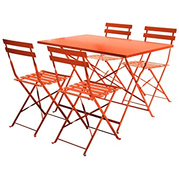 Charles Bentley 4 Seater Rectangular Metal Dining Set 4 Chairs ...