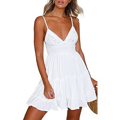 ECOWISH Womens V-Neck Spaghetti Strap Bowknot Backless Sleeveless Lace Mini Swing Skater Dress: Clothing