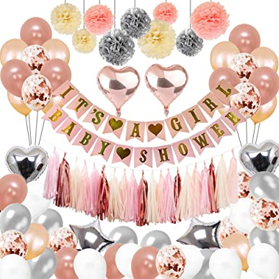 Baby Shower Decorations For Girl,the Party Supplies include 108Pcs Banners Paper Pompoms Heart-type Balloons Pentagram Balloons Rose Gold Balloons Tassels Color Ribbon Balloon Straw for Baby Girls: Toys & Games