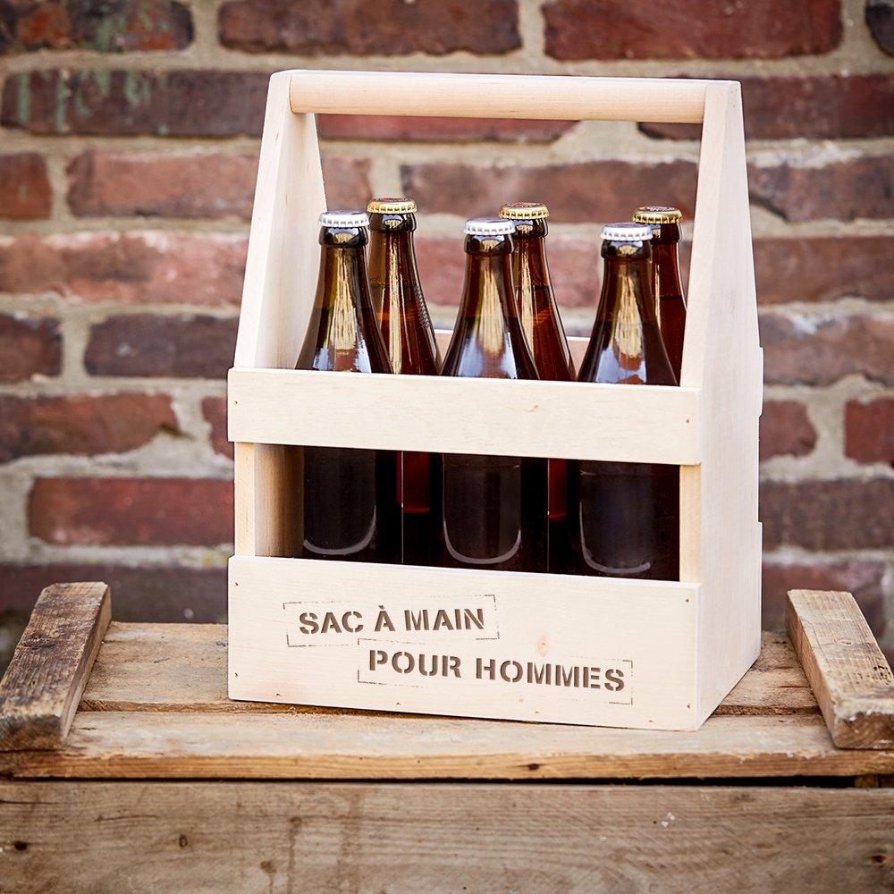Casa Vivente Cadeaux pour hommes Caisse /à bouteilles de bi/ère et de vin Cadeau danniversaire Support en bois pour 6 bouteilles Porte-bouteille Sac /à main pour hommes Peronnalis/é avec nom