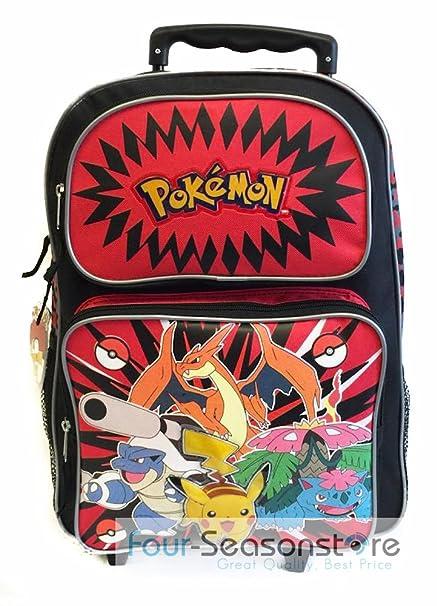 7964f6cf0edcdc 40,6 cm Pokemon rosso e nero scuola zaino con rotelle: Amazon.it:  Abbigliamento