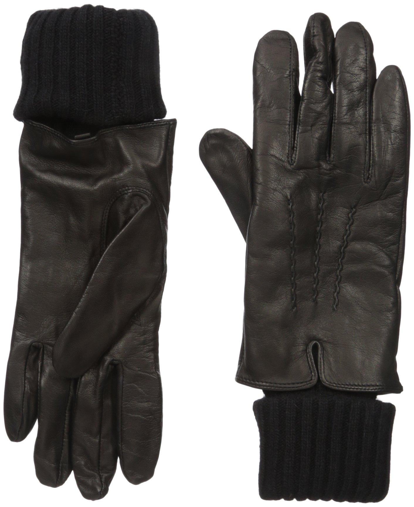 SOIA & KYO Women's Carmel-F6 Leather Glove with Fold-Over Rib Knit Sleeve, Black, Large
