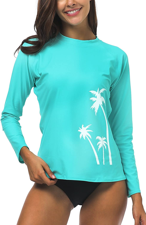 Women Rash Guard Top Ladies Swim Shirt Long Short Sleeve Surf Wear Swimsuit V313