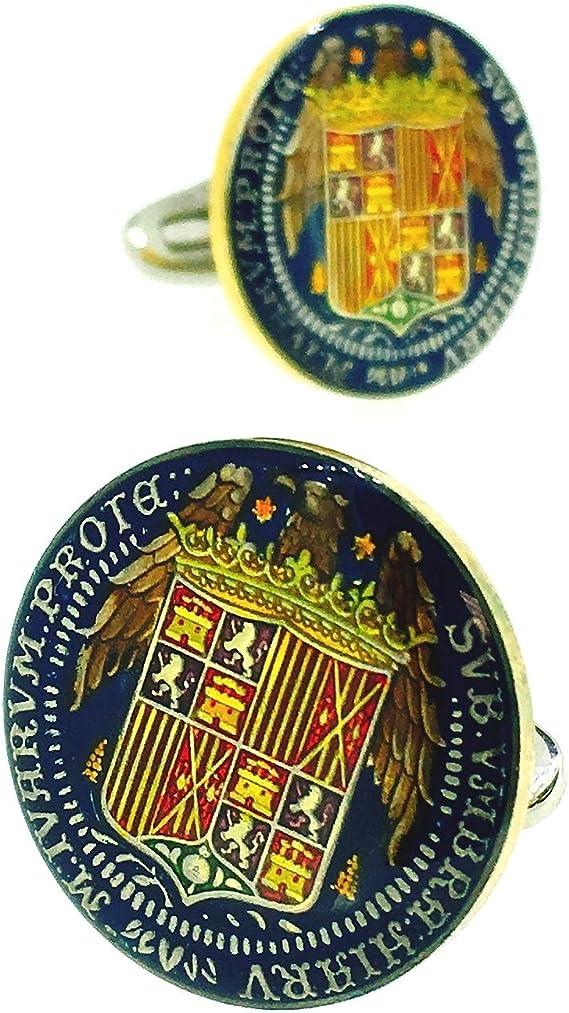 Gemelos para Camisa Plata de Ley 925 Replica Moneda de los Reyes Católicos Aguila de San Juan: Amazon.es: Ropa y accesorios