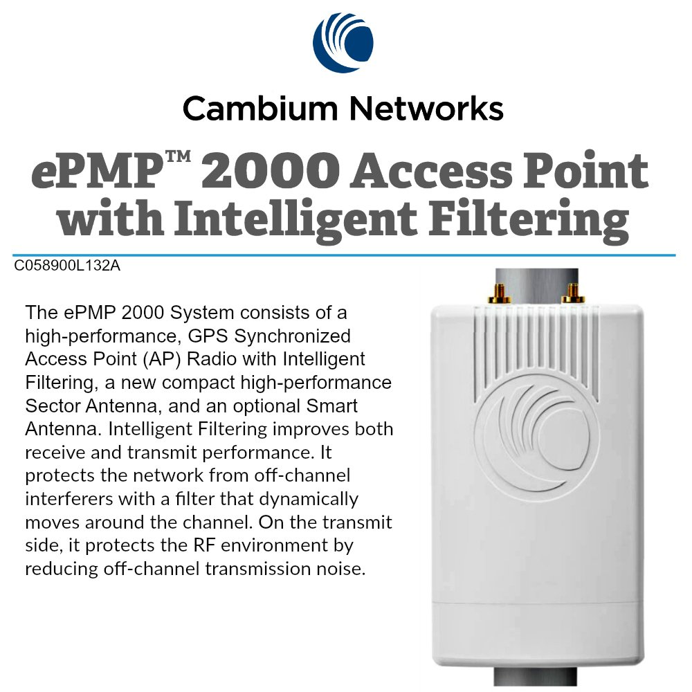 Cambium ePMP 2000 5GHz Access Point Lite with Intelligent Filtering and Sync (FCC)