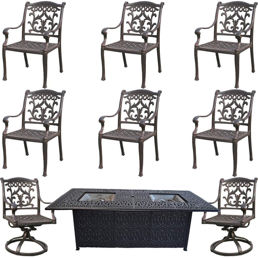 Amazon com fire pit dining table set cast aluminum 9 piece propane patio furniture outdoor sunbrella cushions desert bronze garden outdoor