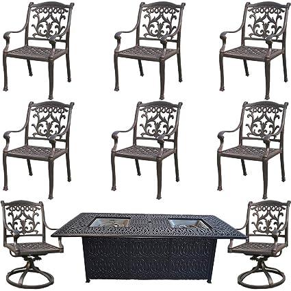 Astounding Amazon Com Fire Pit Dining Table Set Cast Aluminum 9 Piece Home Interior And Landscaping Ponolsignezvosmurscom