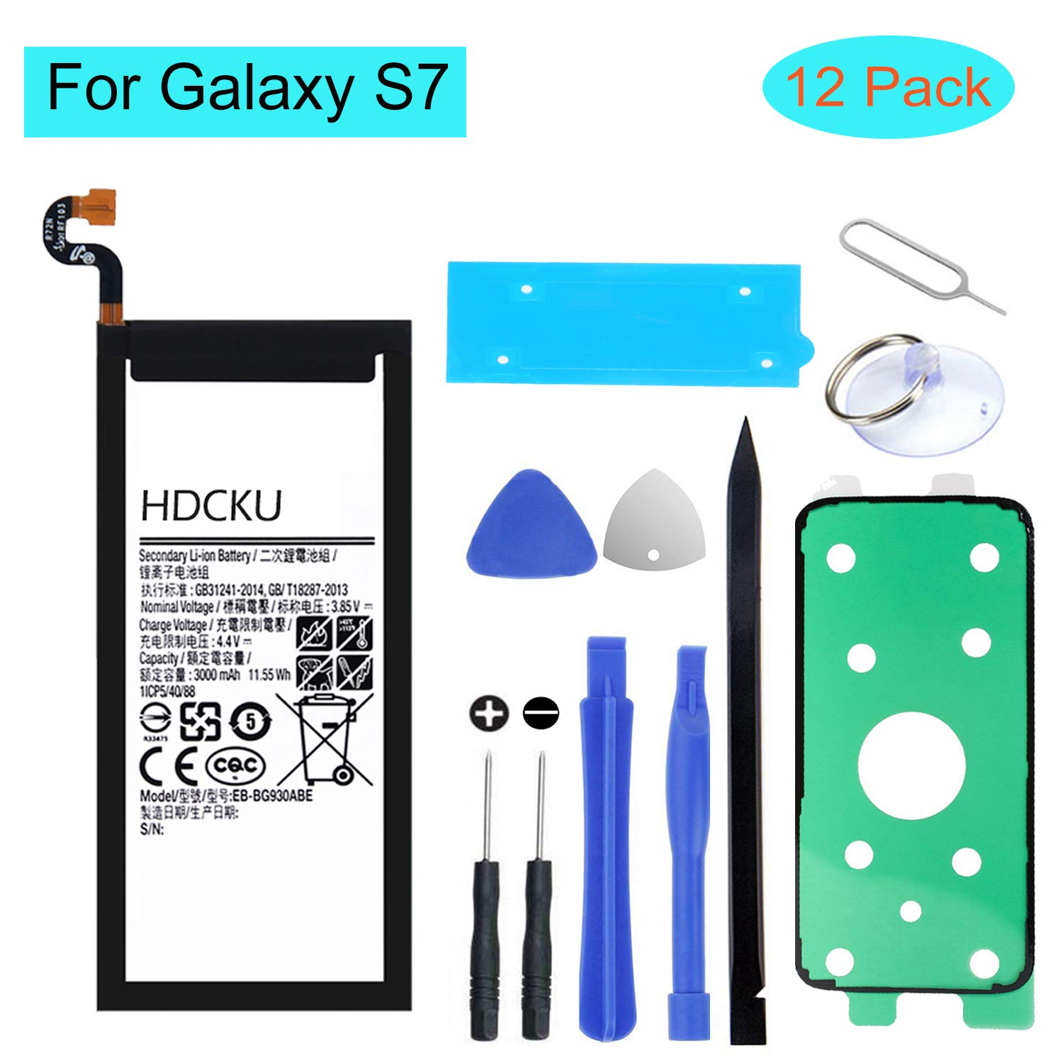 HDCKU Battery Replacement Kit for Samsung Galaxy S7 Battery SM-G930 (EB-BG930ABE) with Full Repair Tools and Instructions, Not Work for S7 Active(12 Month Warranty)
