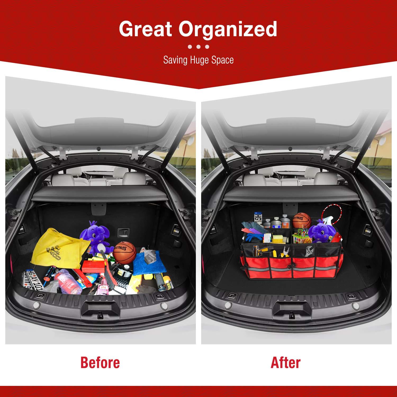 Robuste rutschfeste Kofferraum Aufbewahrungstasche aus Aluminiumlegierung Zusammenklappbare Kofferraumtasche mit Gro/ßer Kapazit/ät FLAGPOWER Auto Kofferraum Organizer mit Abnehmbarem Deckel Rot