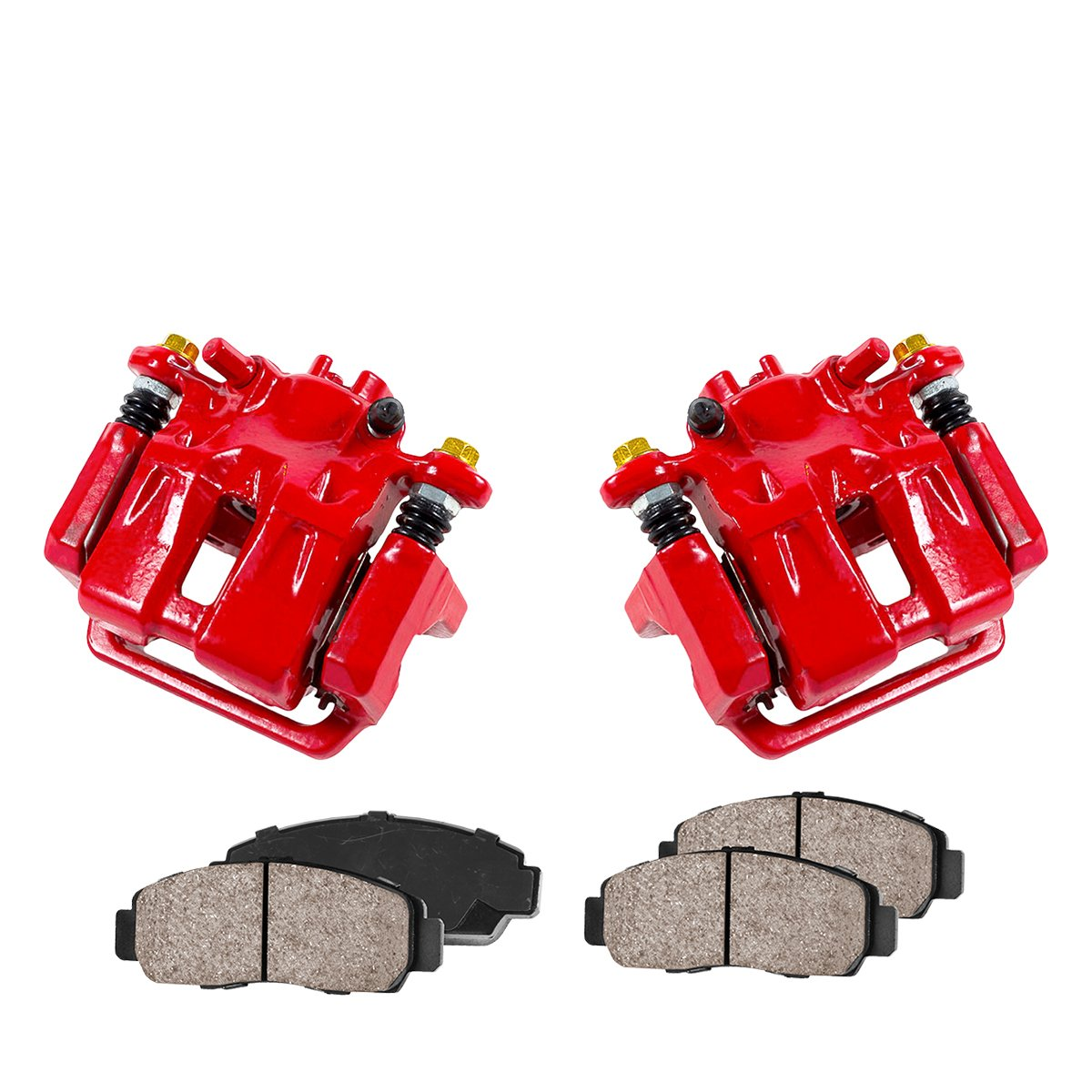 REAR Performance Red Powder Coated Calipers + 4 Quiet Low Dust Ceramic Brake Pads CCK02430 2