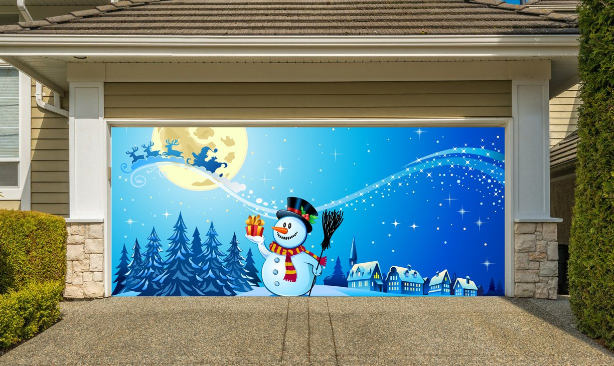 Christmas Garage Door Cover Banners 3d Santa In A Sleigh Snowman Holiday Outside Decorations Outdoor Decor for Garage Door G51