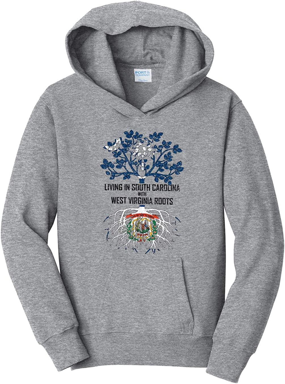 Tenacitee Girls Living in South Carolina with West Virginia Roots Hooded Sweatshirt