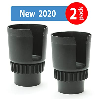 Gadjit Cup Keeper 2.0 (2 PK) Cup Holder Adapter w/Adjustable Base for Hydro Flasks 18 21 24 oz, Yeti Tumbler 20 & 30 oz, Coffee & Travel Mugs 28 oz, Convenience Store Cups 48 oz, 1 Liter Bottle Black: Automotive