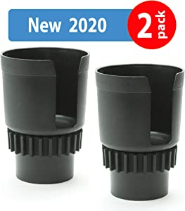 """Gadjit CUP KEEPER 2.0 (2 PK) Cup Holder Adapter w/Adjustable Base For Hydro Flasks 18 21 24 oz, Yeti Tumbler 20 & 30 oz, Coffee & Travel Mugs 28 oz, Fits up to 3.25"""" diameters Black"""