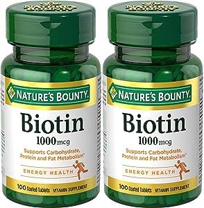 Nature's Bounty Biotin 1000 mcg, 100 Tablets (2 Pack)