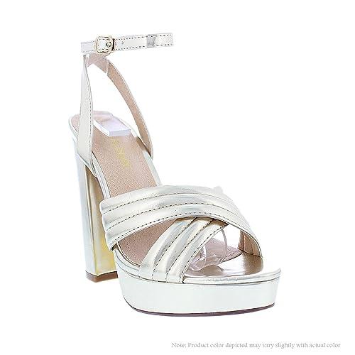 65d105fa Amazon.com | Liliana Women's Criss Cross Strappy Heels Gold ALGAN 2 ...