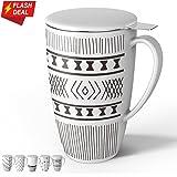Sweese 2154 Porcelain Tea Mug with Infuser and Lid, 15 OZ