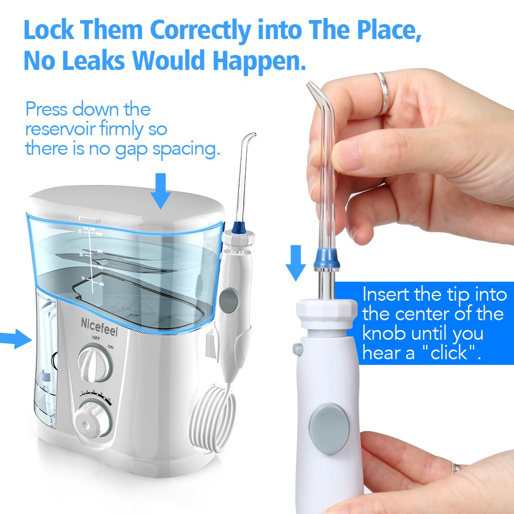 Nicefeel Water Flosser - Water Flossing Dental Oral Irrigator with 10 Pressures, Supports 150 Seconds Cleaning, Dental Flosser with 7 Tips for Family by Nicefeel (Image #7)