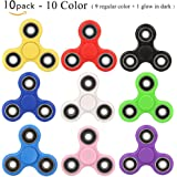Fidget Spinner 10 Pack Stress Relief Reducer Spin ADHD Anxity Toys for Adults Children Autism Fidgets Best EDC Hand Spinners Bearing Trispinner Finger Toy Focus Fidgeting Restless Tri-spinner SCIONE