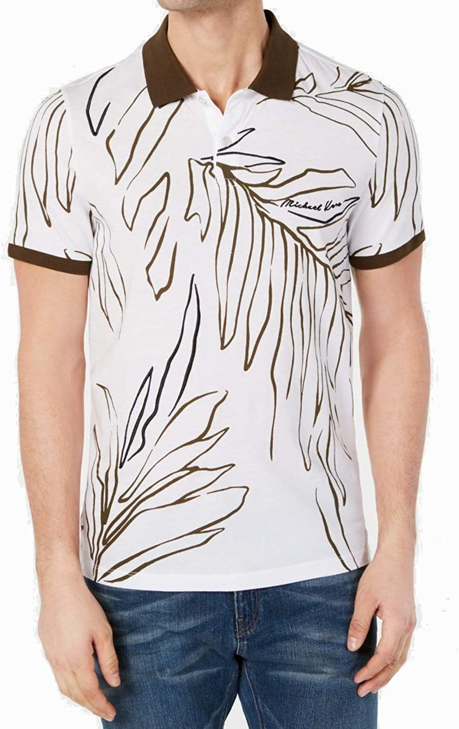 Michael Kors Mens Shirt Brown Polo Palm Leaf Print White XL ...