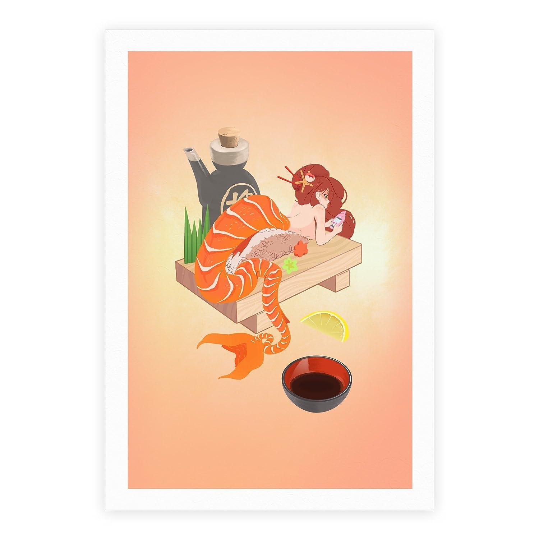 マーメイドSushi Gicleeアートプリントポスターby LookHUMAN 17 x 22 Inches 61736-poster17x-whi-one_size 17 x 22 Inches ホワイト B073Z9T95Z